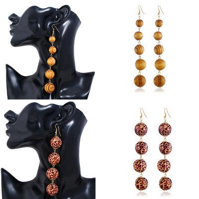 Fashion Women Vintage Circle Ball Wood Long Dangle Drop Hook Earrings Jewelry Ball Dangle Earrings Jewelry