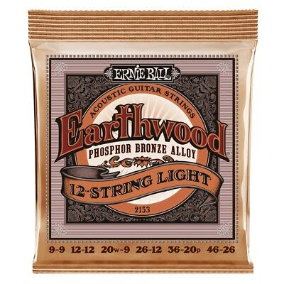 Ernie Ball 2153 12-String Phosphor Bronze Acoustic Guitar Strings Light -