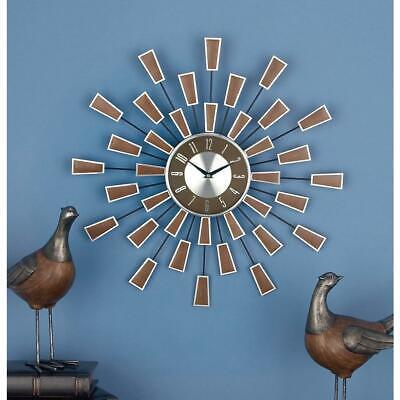 Retro Wall Clock Sunburst Vintage Mid Century Modern Atomic Age Starburst
