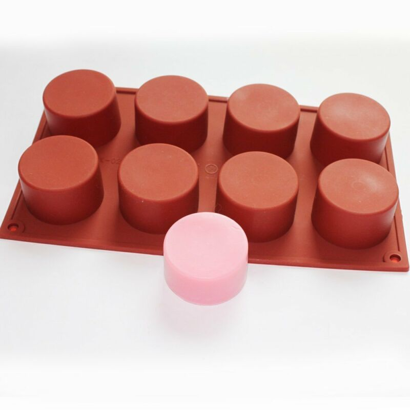 Round Cylinder Column Silicone Soap Mold Muffin Cupcake Craft Art Bar Soap Mould