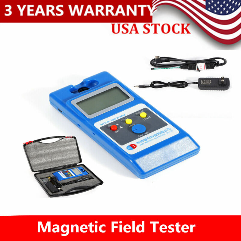 Field Tester W/ Ns Function WT10A Tesla Meter Surface LCD Gaussmeter Magnetic HQ