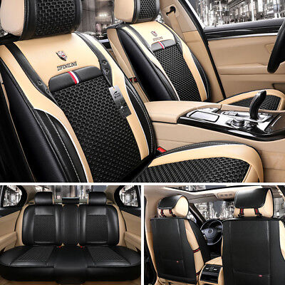 5-Seat Car Seat Cover Cushions Set SUV PU Leather Cooling Mesh Universal Carpet ()