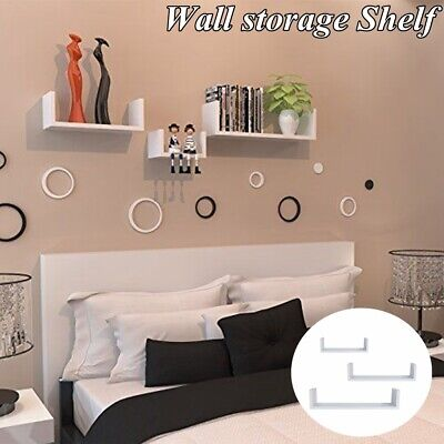 3Pcs Floating Shelves Wall Mount Book Shelf Display Storage Bathroom Decor White ()