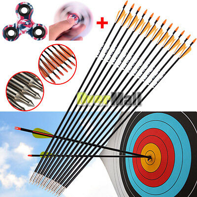 "12pcs 33"" Archery Arrow Fiberglass Arrows Nocks Fletched Target Practice Hunting"
