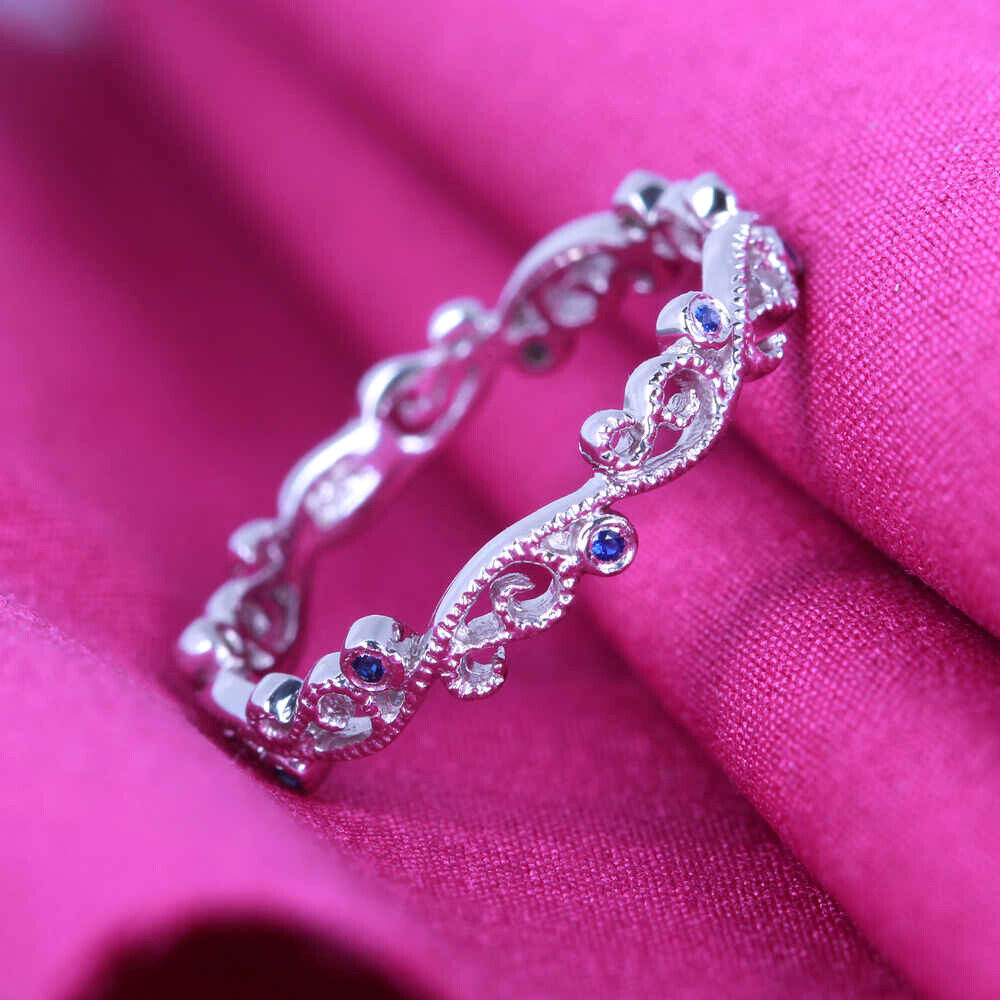 ESTERNITY STYLE 10K White Gold Engagement Band Sapphires Wedding ...
