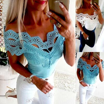 Women Short Sleeve Lace T Shirts Fashion Ladies Summer Casual Blouse Tops Shirt ()