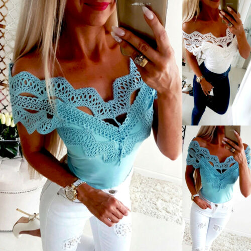 Women Short Sleeve Lace T Shirts Fashion Ladies Summer Casua