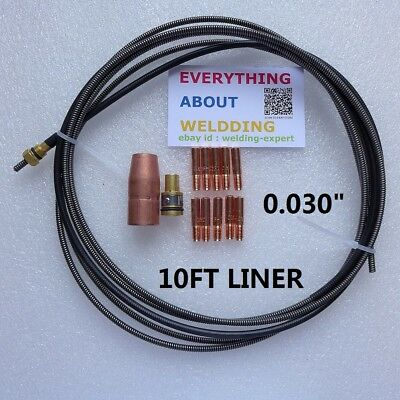 10ft Mig Gun Liner Kit .030 Wire Miller Mig M-10 M-15 M-10 Hobart Guns