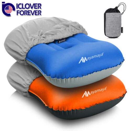 Inflatable Travel Air Neck Pillow Camping Sleeping Gear Backpacking+Cotton Cover