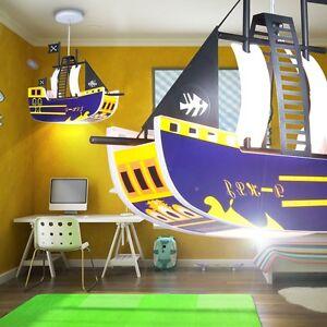 Kinderzimmer Hänge-Leuchte Decken-Lampe Kinderleuchte Piraten-Schiff Baby-Lampe