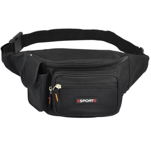 Bauchtasche Gürteltasche schwarz black Sporttasche Hüfttasche mit 8 Fächer