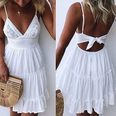 Summer Women Sexy V-neck Camisole Sleeveless Dress Short Mini White Sundress Hot