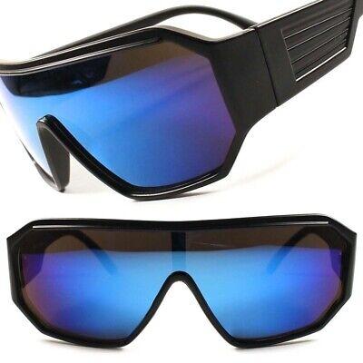 Retro Futuristic Party Rave Sci-Fi Blue Mirrored Lens Wrap Shield Sun (Raving Glasses)