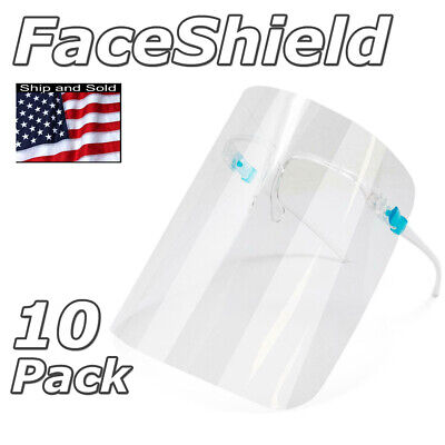 10 Pcs Face Shield Reusable Full Face Mask Cover Glasses Anti Splash Safety