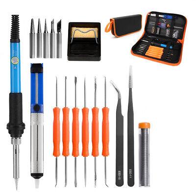 19pcs Electric Soldering Iron Welding Tool Kit Solder Tips Tweezers Screwdriver