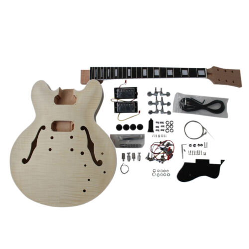 Coban Guitars DIY Kit ES230 Flamed Maple Veneer Chrome Hardware Black Fittings