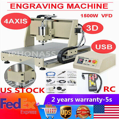 Usb 4 Axis Cnc 6040 Router Engraver Wood Carving Milling Machine 1.5kwhandwheel