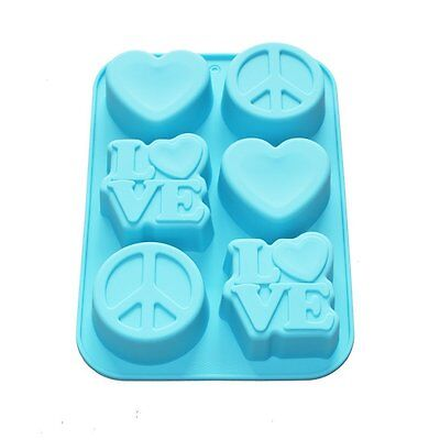 X-Haibei Love Heart Peace Sign Soap Mini Cake Jello Supplies Silicone Mold