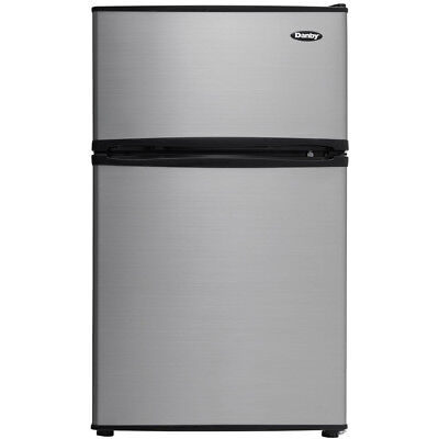 Danby 3.2 Cu. Ft. 2-door Stainless Steel Refrigerator w/ Top Mounted Freezer