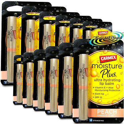 (12x Carmex Moisture Plus Ultra Hydrating Peach Sheer Tint SPF15 Lip Balm)