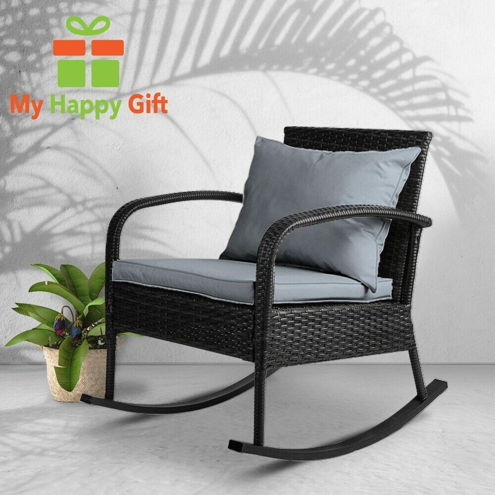 Garden Furniture - BLACK Gardeon Outdoor Furniture Rocking Chair Wicker Garden Patio Lounge Setting