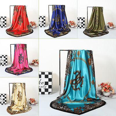 New Women Big Square Silk-like Satin Large Scarf Wrap 90*90Cm Printing Shawl