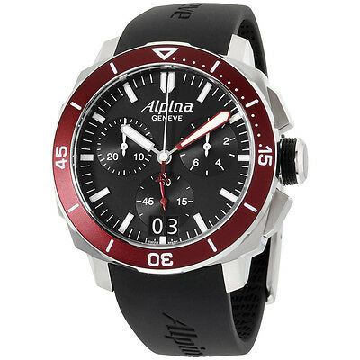 Alpina Seastrong Black Dial Silicone Strap Men's Watch AL372LBBRG4V6RS