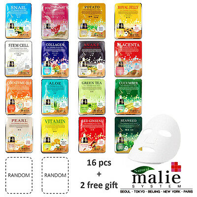 Mask Essence 18pcs Korean Cosmetics Malie Facial Mask Essence Daily Skin Care.