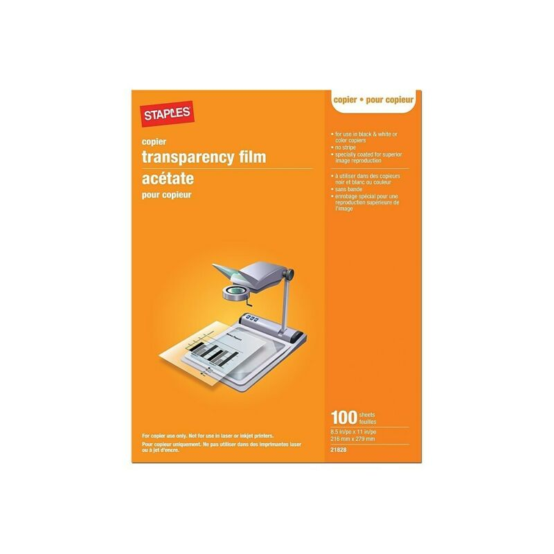 "Staples Transparency Film 8.5"" x 11"" 100/Box (21828) 368095"