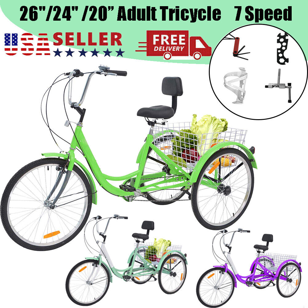 """26""""/24""""/20"""" Adult Tricycle Trike with Large Size Basket for"""