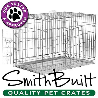 Silver Dog Crate Kennel – Pet Playpen Cage w/ Metal Tray Pan