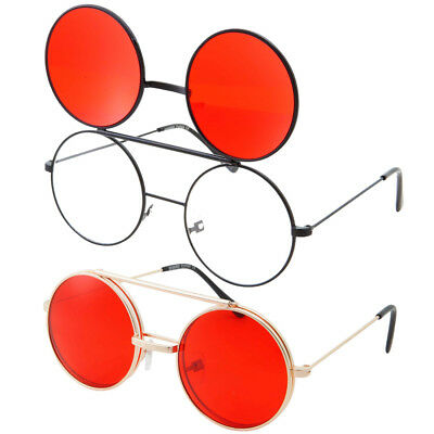 Steampunk Red Lens Dwayne Wayne Glasses Round Flip Up Sunglasses Black Frame (Dwayne Wayne)