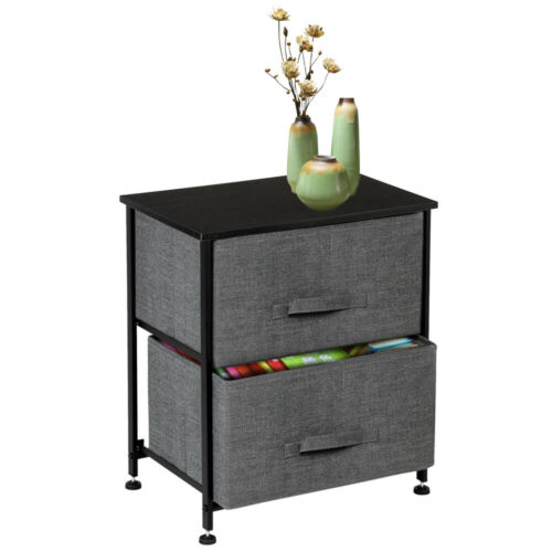 Bedroom Bedside Table w/ 2 Fabric Drawers Night Stand Unit S