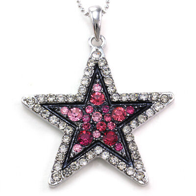 Clear Hot Pink Star Necklace Pendant Black Outline Silver Tone Crystal Jewelry