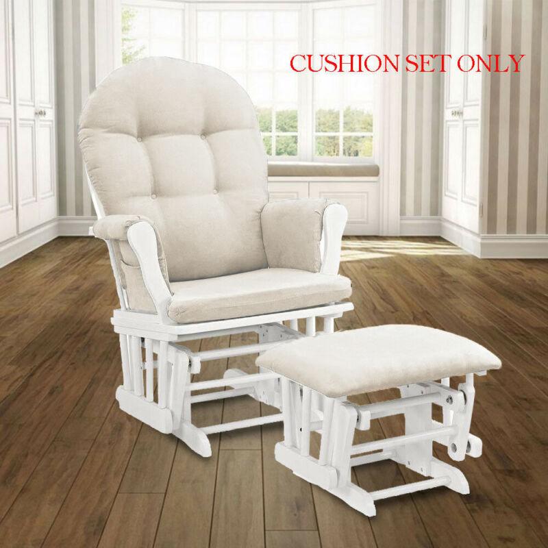 Glider Rocker Velvet Cushion Set Replacement Washable for Chair & Ottoman Beige