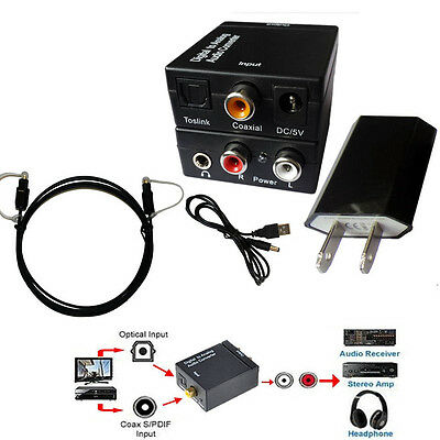 EDTree Digital SPDIF Optical Toslink Coax to Analog RCA Audio Converter 1.5M OPT