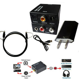 EDTree Digital SPDIF Optical Toslink Coax to Analog RCA Audio Converter 1.5M OPT