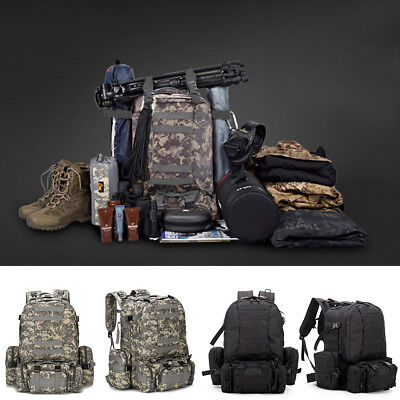55L Large Military Tactical Backpack Army Assault Pack Molle Gear Bug Out Bag - Camouflage Backpacks