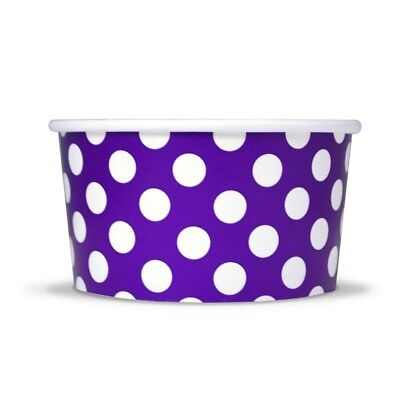 Purple Ice Cream Paper Cups - 6 oz Polka Dot Disposable Birthday Party - Purple Polka Dot Party Supplies