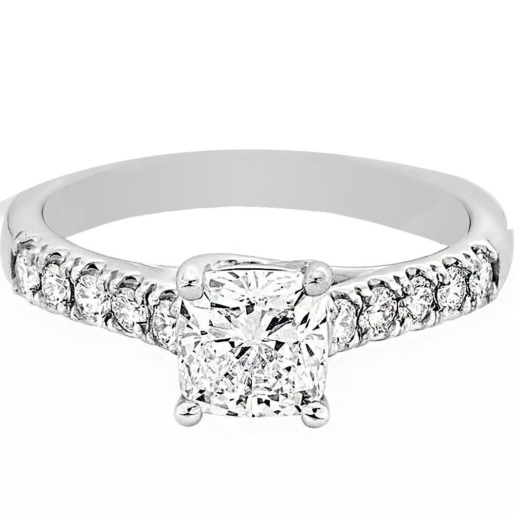 GIA Certified Diamond Engagement Ring 1.30 carat Cushion Shape 18K White Gold