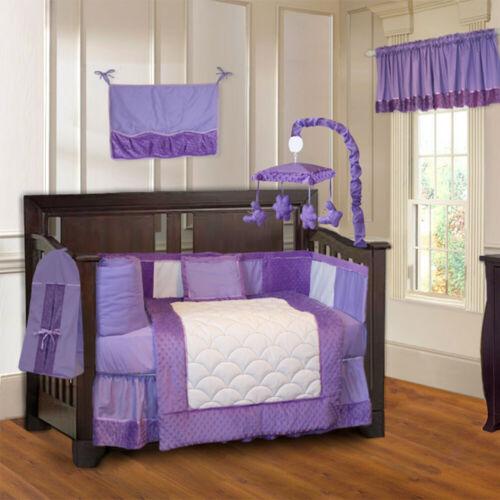 BabyFad 10 Piece Minky Purple Baby Crib Bedding set