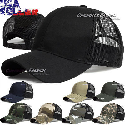 Baseball Cap Trucker Hat Snapback Solid Visor Mesh Back Plain Blank Hats Caps - Blank Trucker Hats