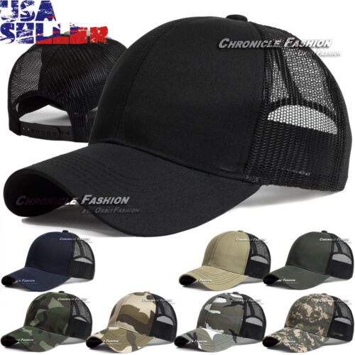 Trucker Hat Snapback Baseball Mesh Back Cap Solid Visor Plain Blank Hats Caps