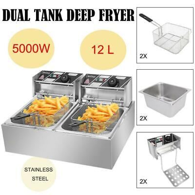 5000w Extra Large Electric Deep Fryer Commercial Restaurant Fry Basket 12.7qt
