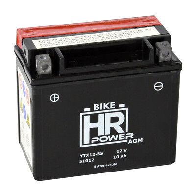 Motorradbatterie AGM 12V 10Ah 51012 YTX12-BS CTX12-BS inkl. Säurepack GTX12-BS
