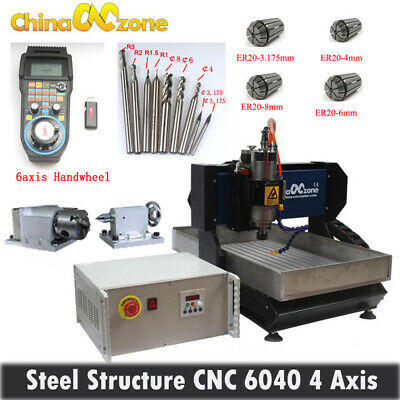6040 4axis 2.2kw Steel Cnc Router Engraver Diy Milling Cutting Machinehandwheel