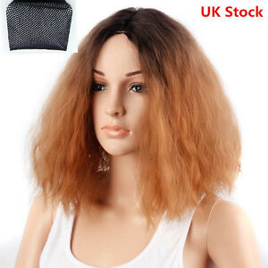 Real Looking Short Bob Curly Hair Lace Front Full Wigs Afro Kinky 12 Inches UK