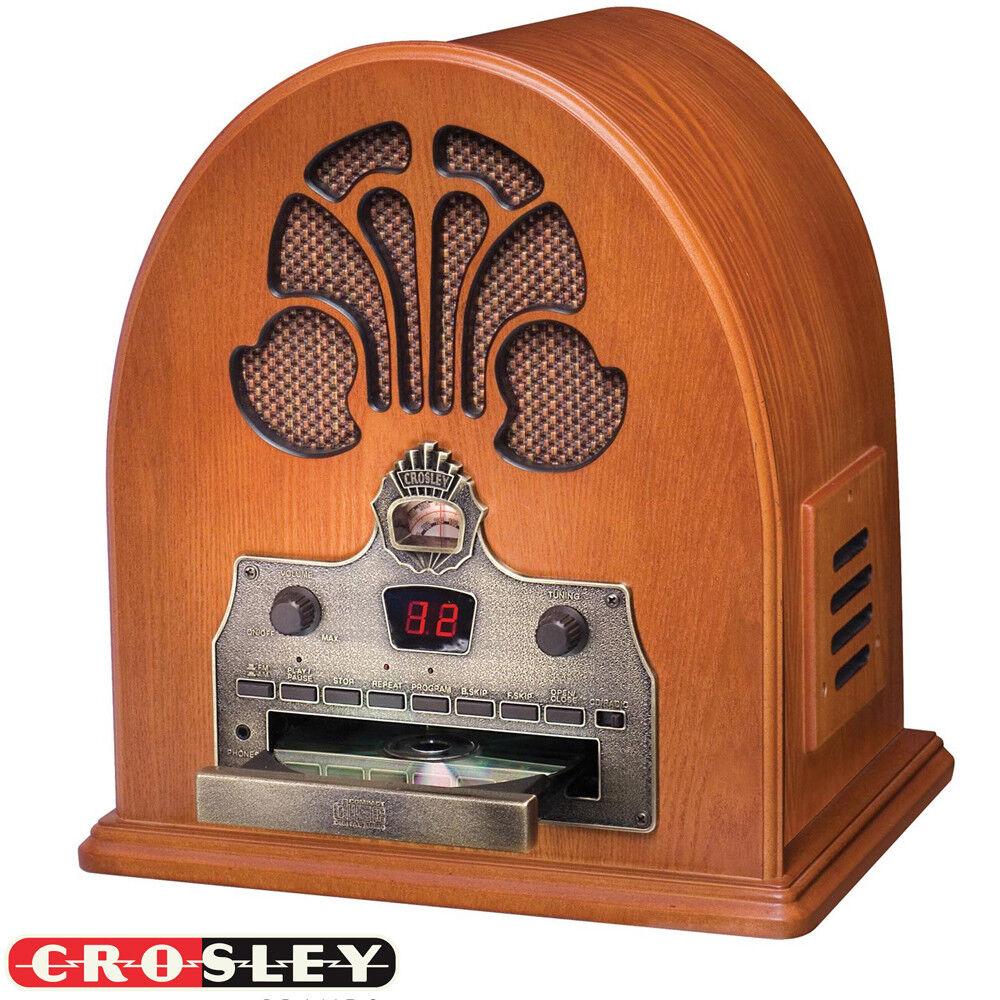как выглядит CD-проигрыватель NEW Crosley CR32CD Retro Table Top Cathedral AM/FM Radio and CD Player Hard Wood фото