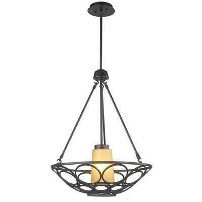 World Imports 1-Light Oil-Rubbed Bronze Pendant with Frosted Glass Shade-NOB