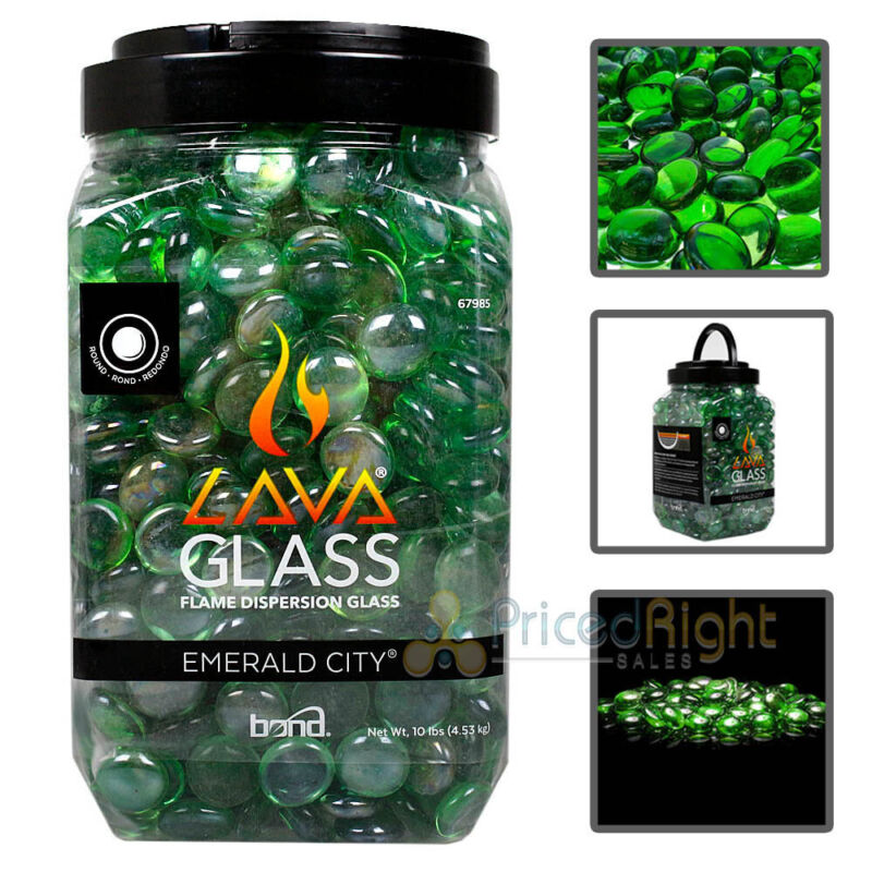 Lava Glass Gas Fireplace Fire Pit Glass Round Emerald City Green 10 lbs 67985